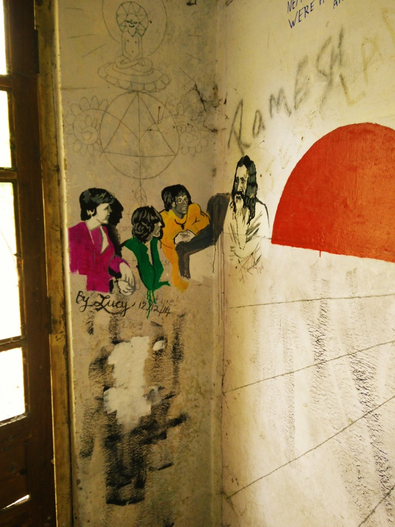 Beatles ashram satsang hall graffiti