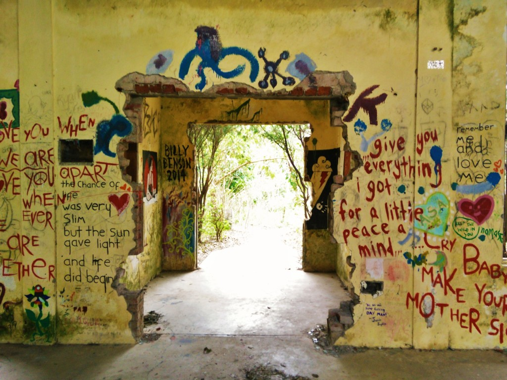 Beatles ashram satsang hall doorway