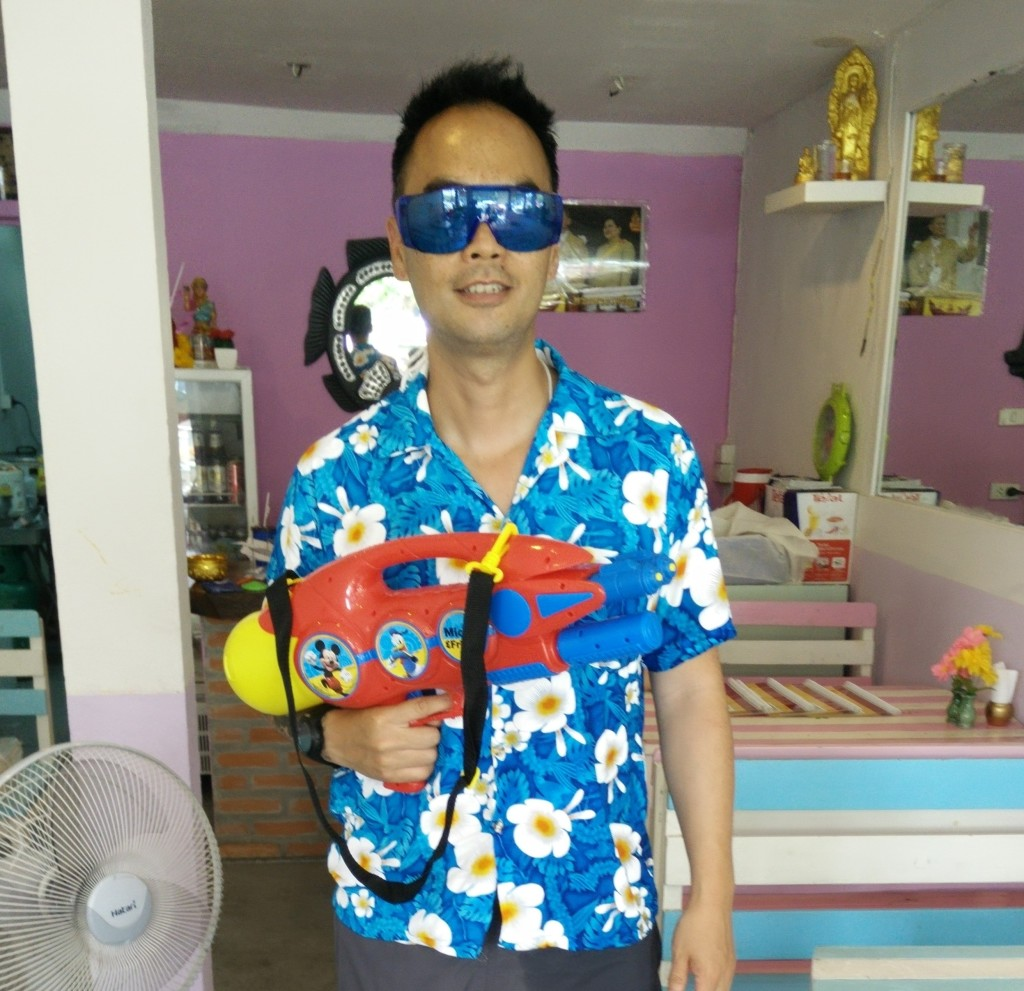 Preparing for the first day of Songkran last year.
